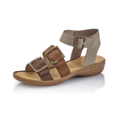 Brown & Beige Heel Sandal 608C3-25