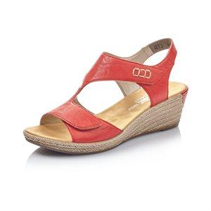 Sandale talon compensé Rouge 62468-33