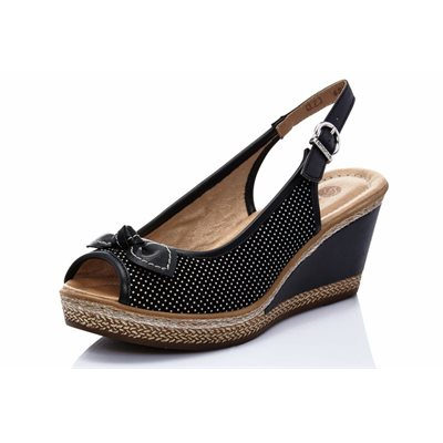Black Wedge Sandal D4528-02