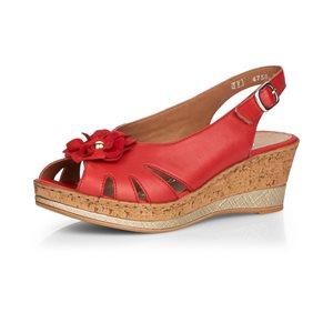Sandale à talon compensé Rouge D4758-33