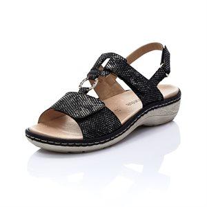 Black Orthtic Friendly Sandal D7648-02