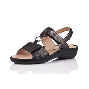 Black Orthtic Friendly Sandal D7648-03