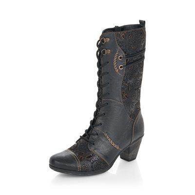 Black / Pattern High Heel Boot D8791-03