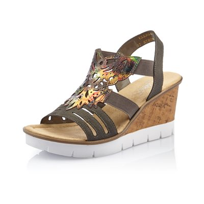 Black Multi Color Wedge Sandal